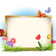 Photo frame with spring flowers and butterflies — Stock Vector #9194123