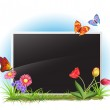Photo frame with spring flowers and butterflies — Stock Vector #9194127