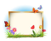 Photo frame with spring flowers and butterflies — Stock Vector
