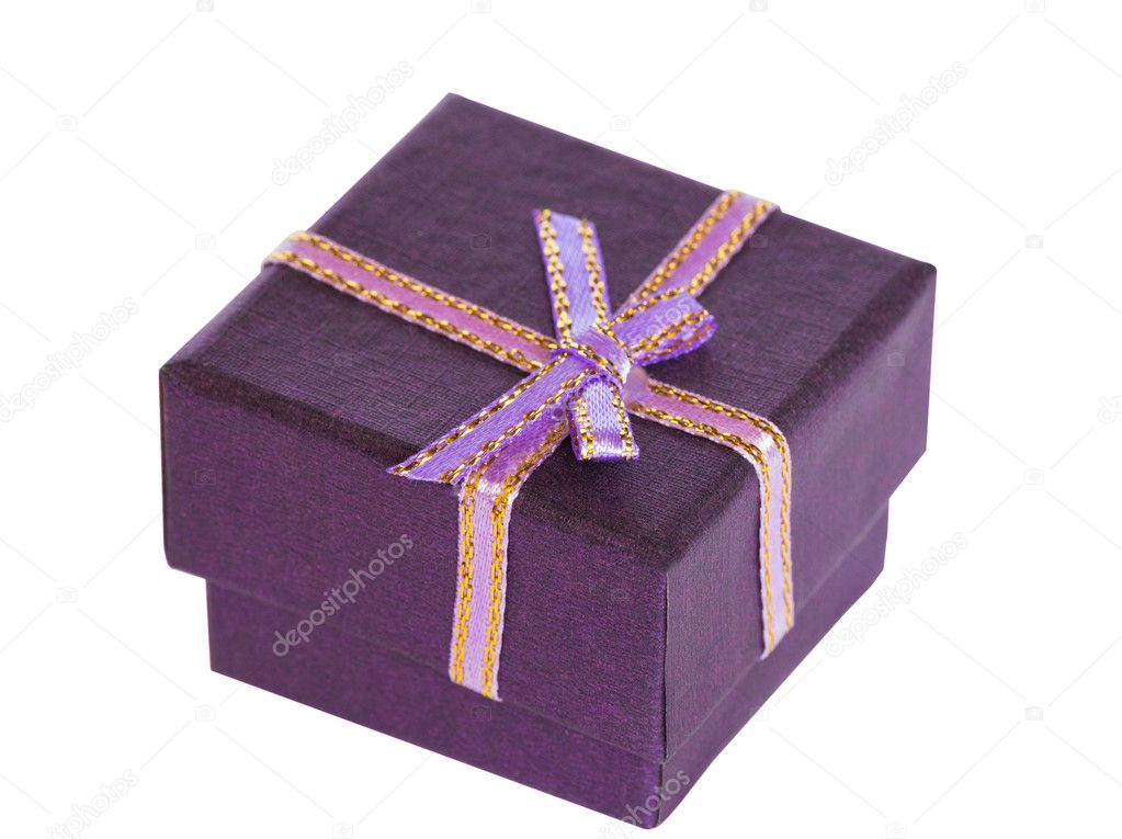 Violet little gift box on white — Stock Photo #9719760