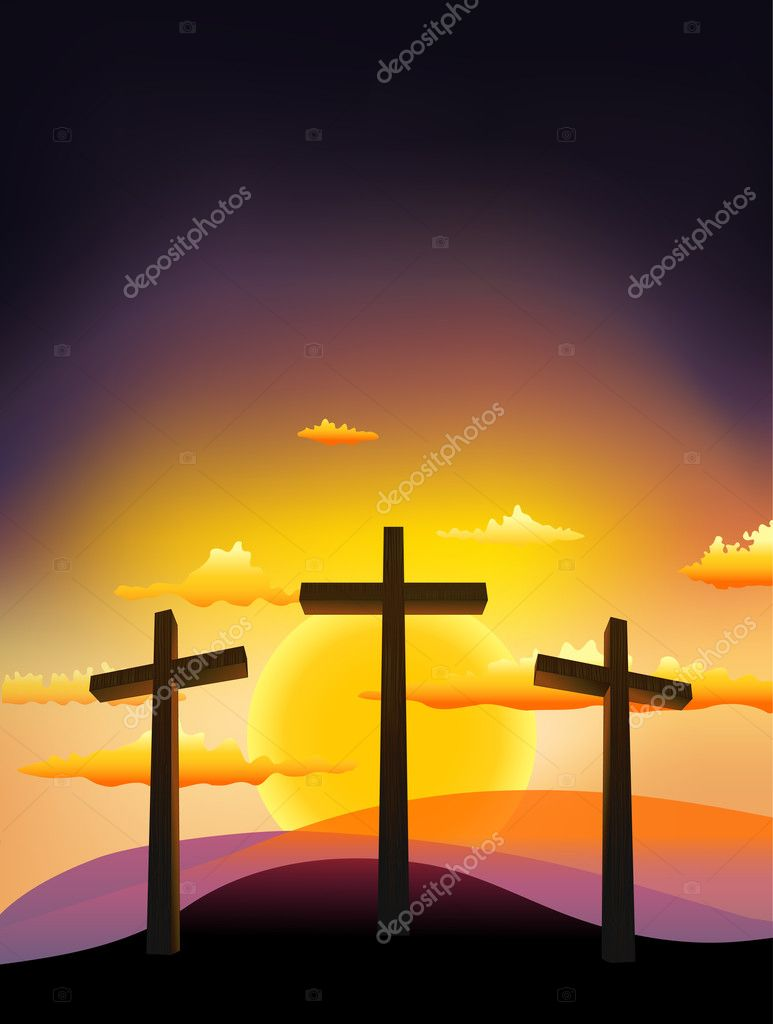 Три креста на Голгофе на закате Векторный клипарт CLIPARTO