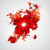 Red floral. — Stock Vector
