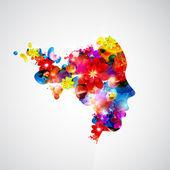женщина с цветами. — Cтоковый вектор