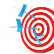 One darts accurate  in the target — Stock Photo
