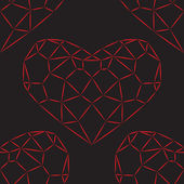 无缝模式。红色的心钻石 — 图库矢量图片