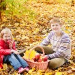 Brother and sister in autumn garden — Stockfoto
