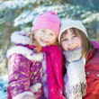 Two girls in winter forest — Stock Photo