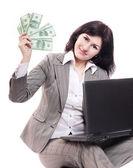 Dizüstü bilgisayar üzerinde beyaz izole kadın — Stok fotoğraf