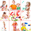 Children with paint — Stock Photo #8353081