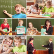 Collage of schoolchildren in studying process and education obje — Foto de Stock