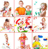 Children with paint — Stock Photo