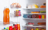 Refrigerator with food — Stock Photo