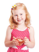 Smile girl with cup of tea — Stock Photo