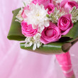 Wedding bouquet on pink background - Stock Photo