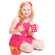 Little girl with milk and cake isolated on white — Stock Photo #8367877