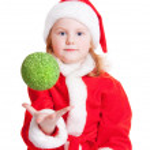 Little girl with christmas ball — Stock Photo