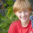 Boy with grape - Stock Photo