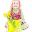Girl with tulip isolated on white — Stock Photo #8369627