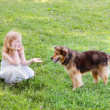 Little girl with dog — Stock Photo #8369809