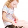 Little beautiful girl with cat — Stock Photo