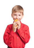 Boy with food isolated on white — Stock Photo
