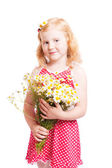 Girl with flowers isolated on white — Stock Photo