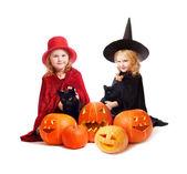 Jeunes filles en costume de sorcière — Photo