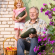 Royalty-Free Stock Photo: Old men and girl outdoor