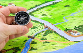 Orientation of the map in the journey — Stock Photo