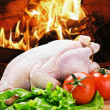 Barbecue chicken with vegetables — Stock Photo