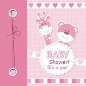 Vector baby girl scrapbook card — Stock Vector