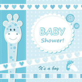 Baby boy announcement card. — Stock Vector