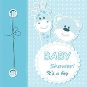 Cartão de scrapbook vector bebê menino — Vetorial Stock