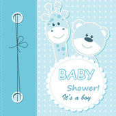 Vector baby boy scrapbook card — Vettoriale Stock