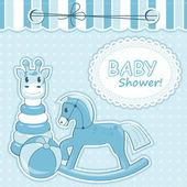 Baby boy announcement card. Vector illustration — Stock Vector