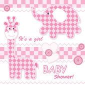 Baby girl announcement card — Stock Vector