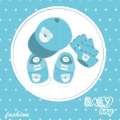 Vector baby boy arrival scrapbook card — Stock Vector