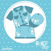 Vector baby boy scrapbook card — Stock Vector
