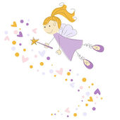 Vector illustration of a fairy with magic stick — Stock Vector