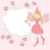 фея принцесса пригласительный билет — Cтоковый вектор