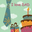Stock Vector: Father Day greeting card with present and cake