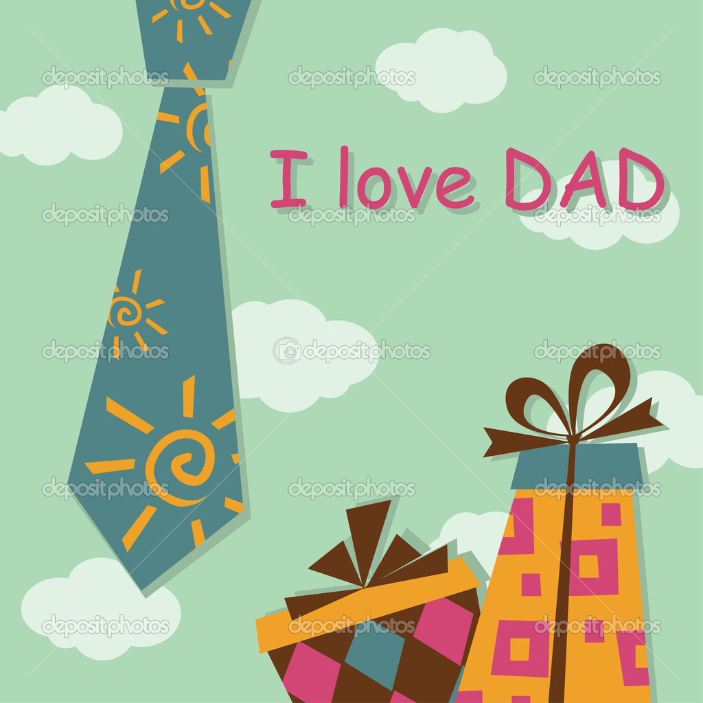 Father Day greeting card with present — Stock Vector #8982186