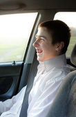 Teenager in the car — Stock Photo
