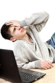 Troubled teenager with notebook — Stock Photo