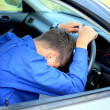 Fall asleep in a car - Stock Photo