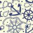 Marine seamless background with anchor, ropes, wheel, marine knots. — Stock Photo #10200575