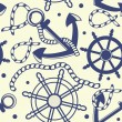Stock Photo: Marine seamless background with anchor, ropes, wheel, marine knots.