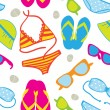 Cute summer vacations seamless background with bikini sets, sunglasses, flip-flops and sun hats — Stock Photo #10200578