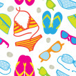 Cute summer vacations seamless background with bikini sets, sunglasses, flip-flops and sun hats — Stock Photo