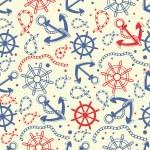 Marine seamless background with anchor, ropes, wheel, marine knots. — Stock Photo